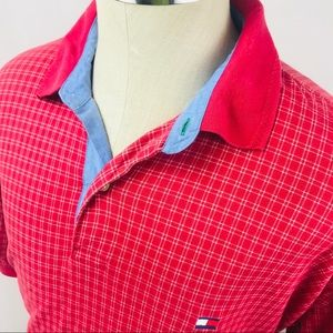 Vintage 90s Tommy Hilfiger red plaid polo shirt